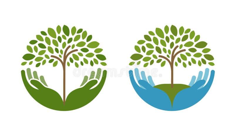 Ecology, natural environment vector logo. Tree, gardening or farming icons stock illustration