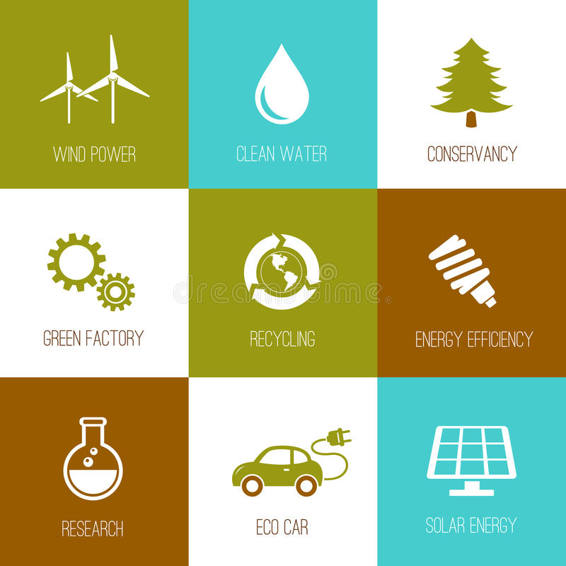 Ecology and nature conservation icons flat designed. Set royalty free illustration