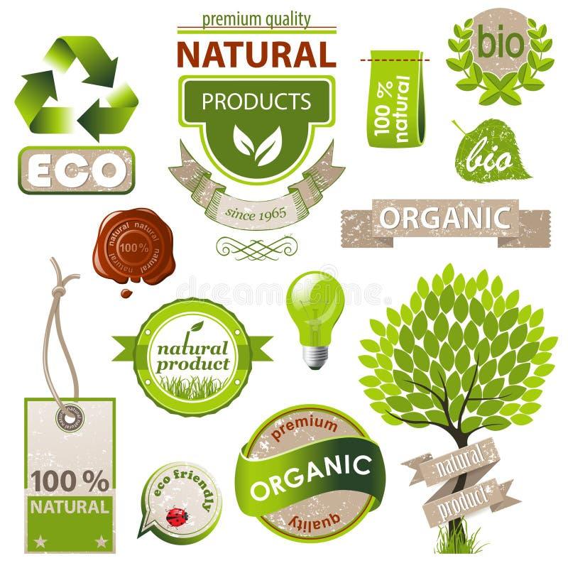 Ecology and nature emblems stock illustration