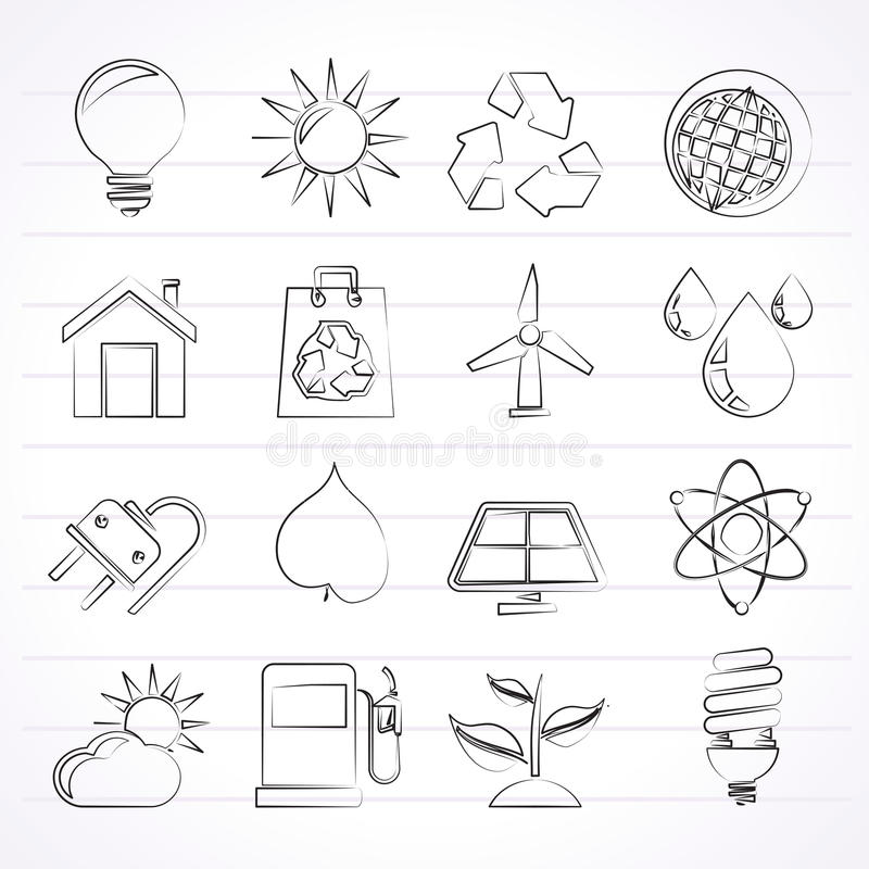 Ecology, nature and environment Icons. Vector icon set stock illustration