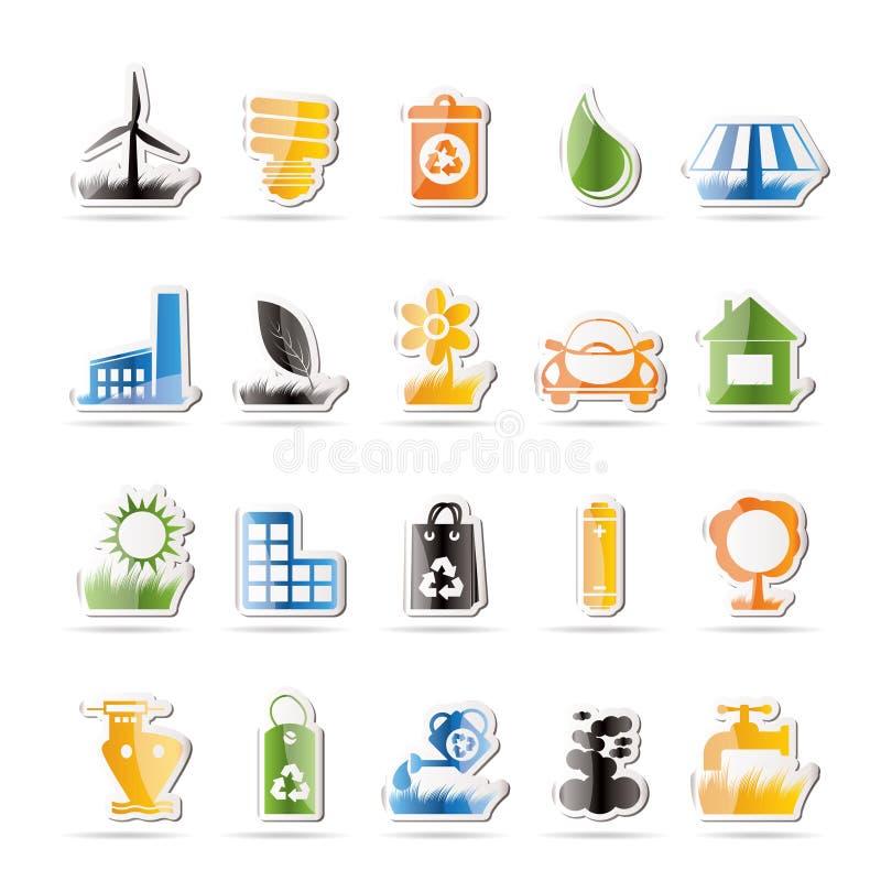 Ecology and nature icons. Icon set stock illustration