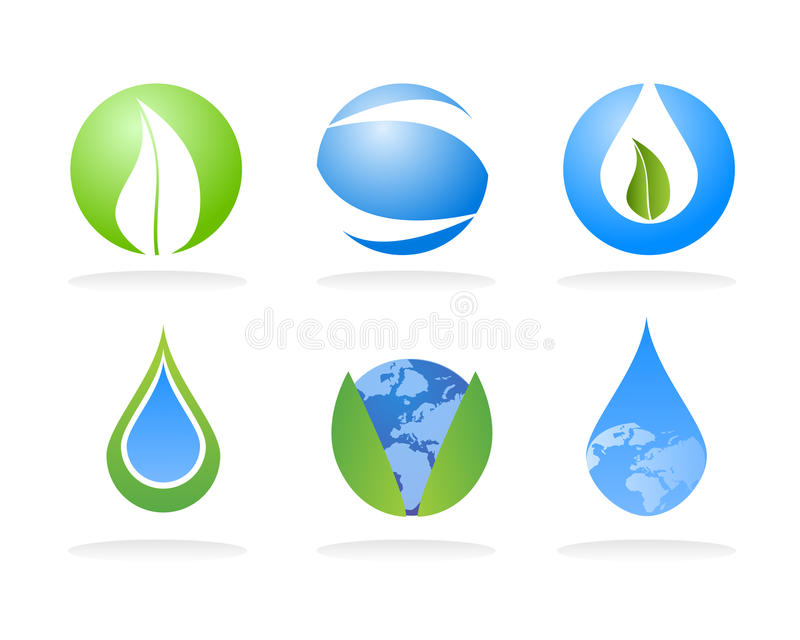 Ecology nature logo elements. Vector logo templates and elements related to ecology, environment, nature and sustainable energies vector illustration