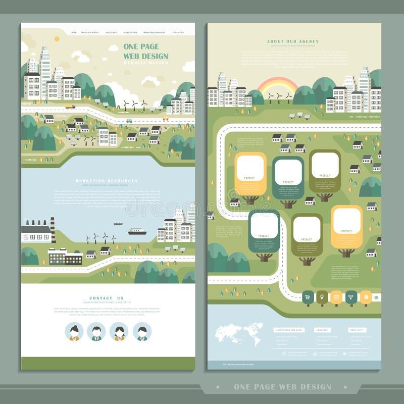 Ecology one page website design royalty free illustration