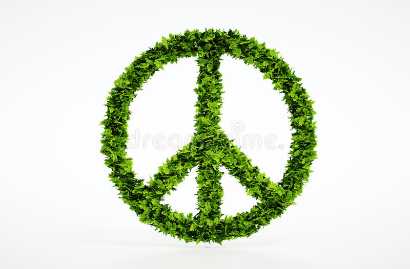 Ecology peace symbol with white background. Isolated 3d render peace symbol with white background royalty free stock photography