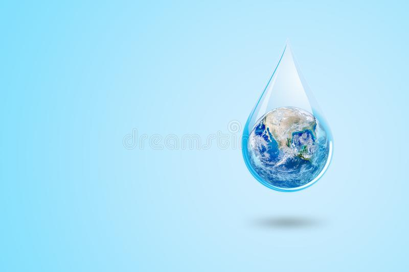 Ecology and Pollution Concept : Blue planet earth globe in water drop with blue background. vector illustration