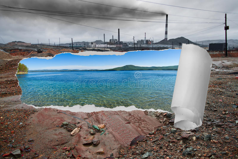 Ecology pollution. Landscape pollution of the environment emission of industrial plant, Karabash city; Russia stock image