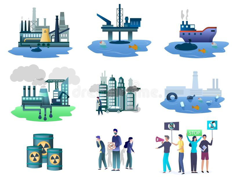 Ecology pollution sources set, vector isolated illustration. Ecology pollution sources and environmental activists with placards, banners, vector illustration vector illustration