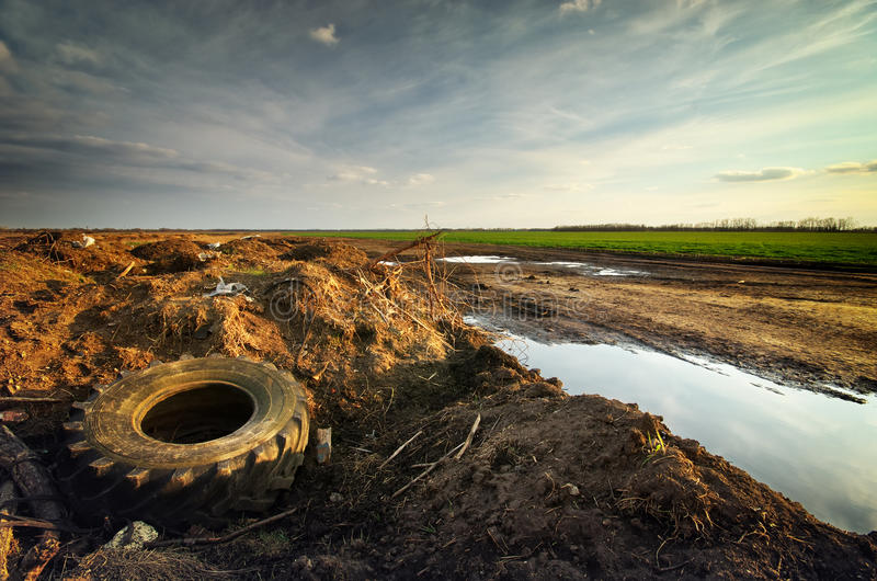 Ecology problem. Conceptual scene. Heap of rubbish royalty free stock photography