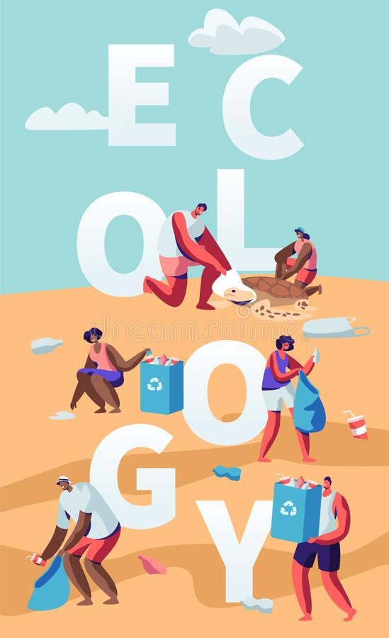 Ecology Protection Concept, People Collecting Trash on Beach. Pollution of Seaside with Garbage. Volunteers Clean Up Wastes vector illustration