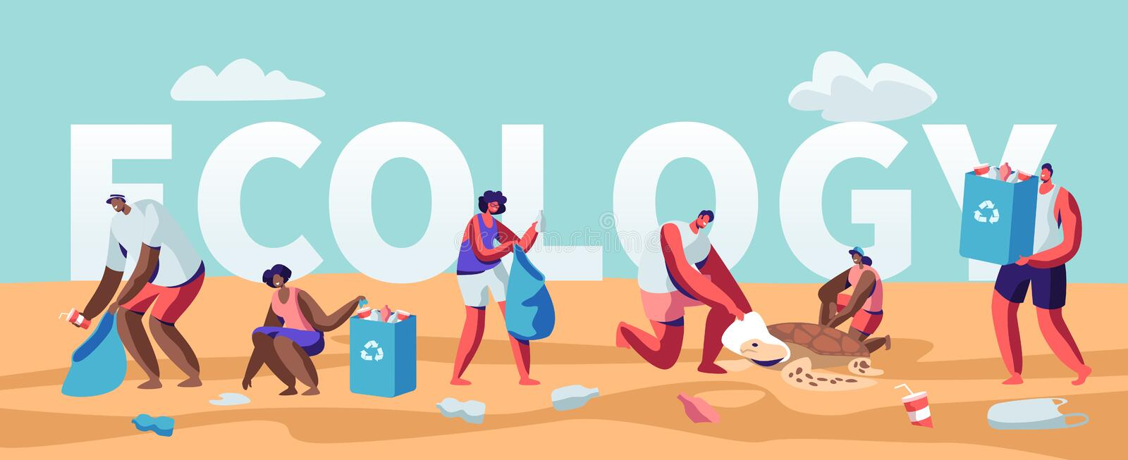 Ecology Protection Concept, People Collecting Trash on Beach. Pollution of Seaside with Garbage. Volunteers Clean Up Wastes royalty free illustration