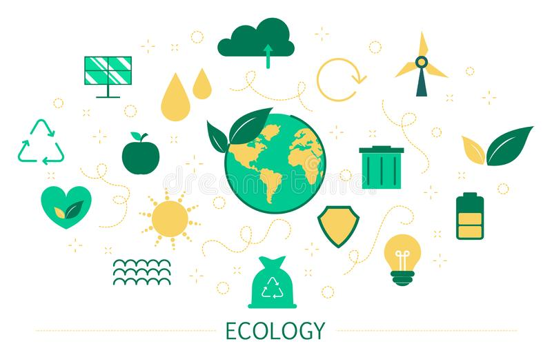 Ecology and recycle concept. Idea of environmental protection. And global ecosystem. Banner or poster for website. Set of colorful icons. Isolated flat vector stock illustration