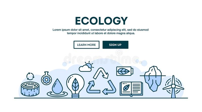 Ecology, recycling, environment, sustainability, concept header, flat design thin line style royalty free illustration