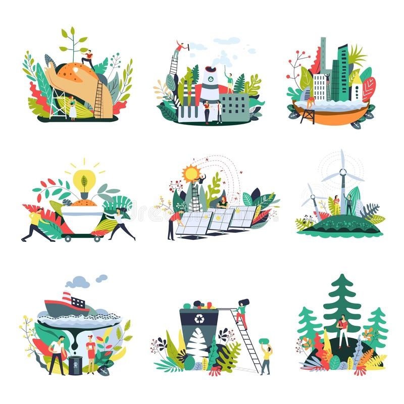 Ecology and save nature environment vector icons. Ecology and save planet nature environment icons. Vector green eco metaphor symbols with small people in nature vector illustration