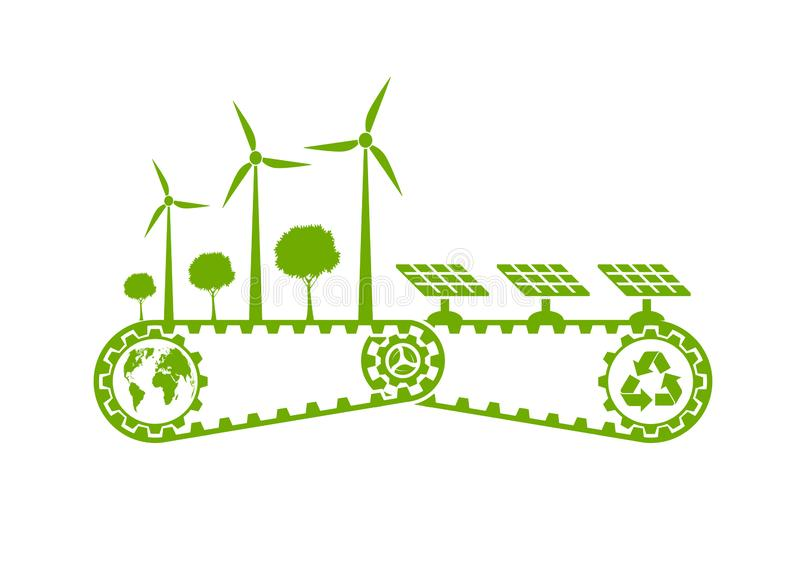 Ecology Saving Gear Concept And Environmental Sustainable Energy Development,Vector illustration. Green, nature, tree, earth, world, background, natural, plant royalty free illustration
