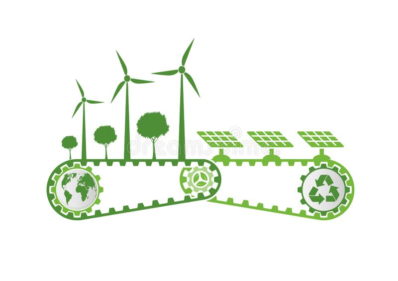 Ecology Saving Gear Concept And Environmental Sustainable Energy Development,Vector illustration. Green, nature, tree, earth, world, background, natural, plant vector illustration