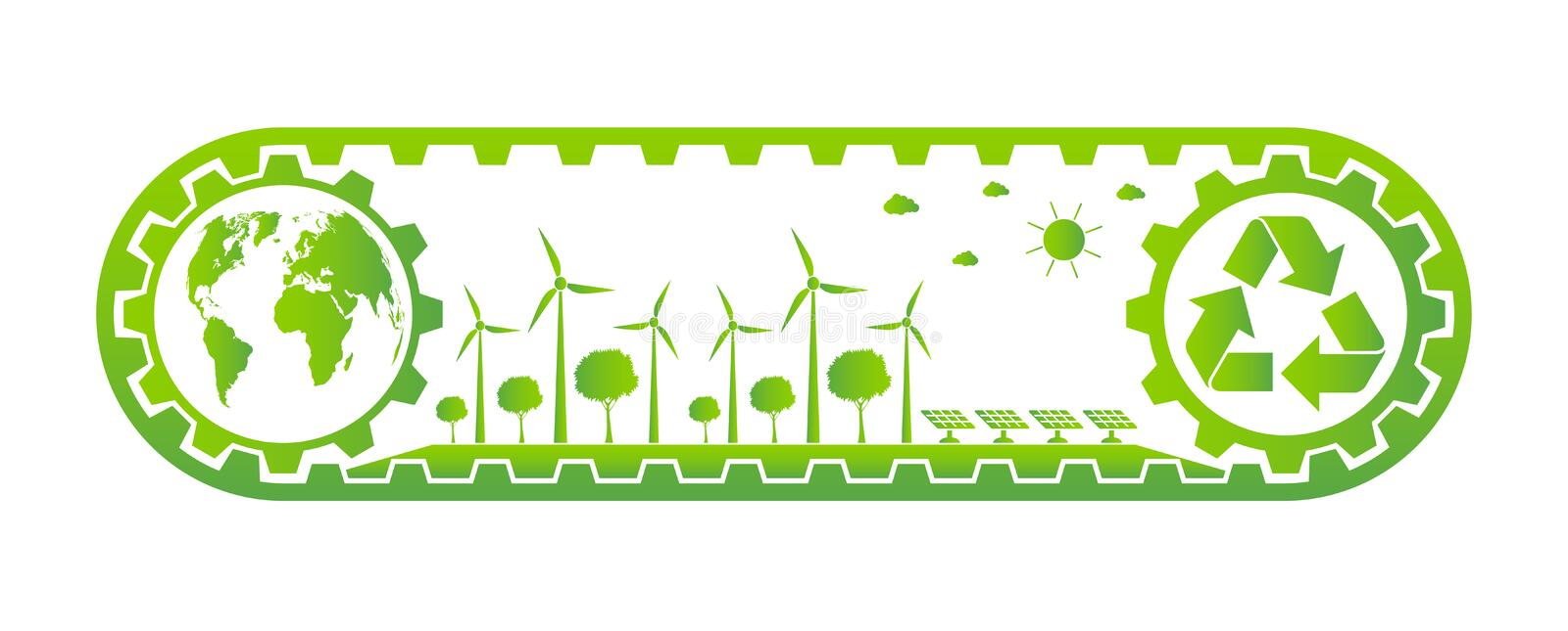Ecology Saving Gear Concept And Environmental Sustainable Energy Development,Vector illustration. Green, nature, tree, earth, world, background, natural, plant stock illustration