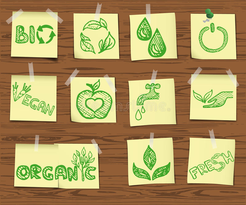 Download Ecology Sketchy Icons On Wooden Board Set2 Royalty Free Stock Image - Image: 37279996