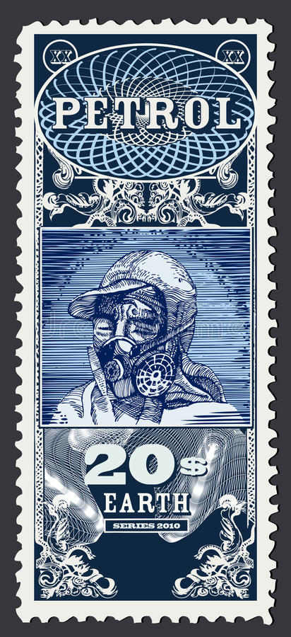 Download Ecology Stamp. Petrol, Human Head With Gas Mask. Stock Illustration - Image: 13349693