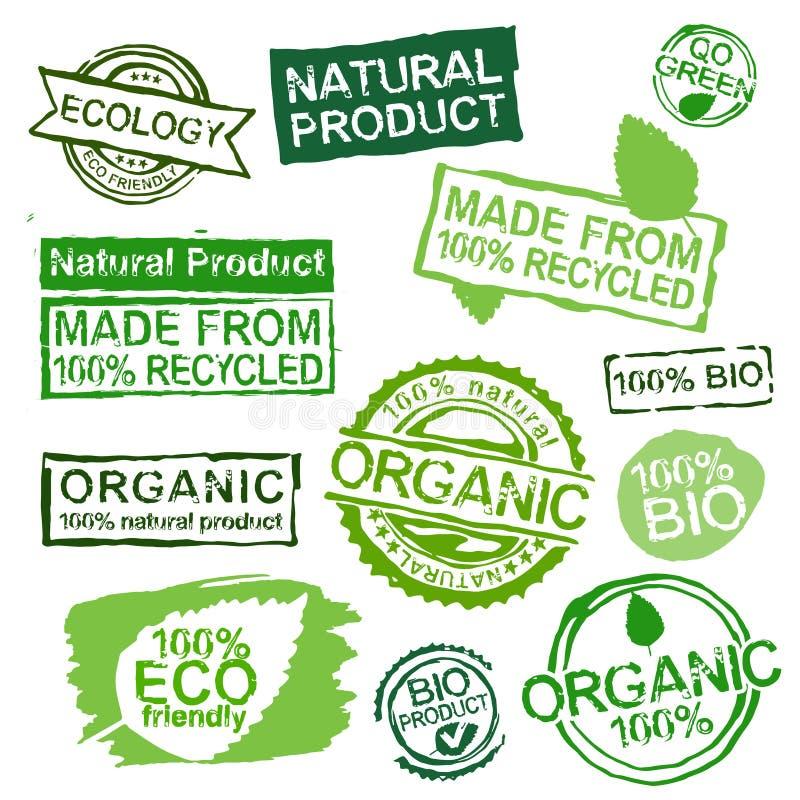 Ecology stamps set vector illustration