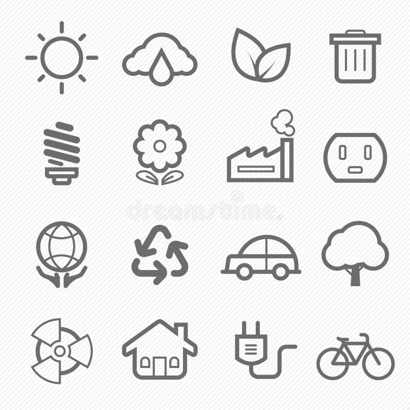 Ecology symbol line icon set royalty free illustration
