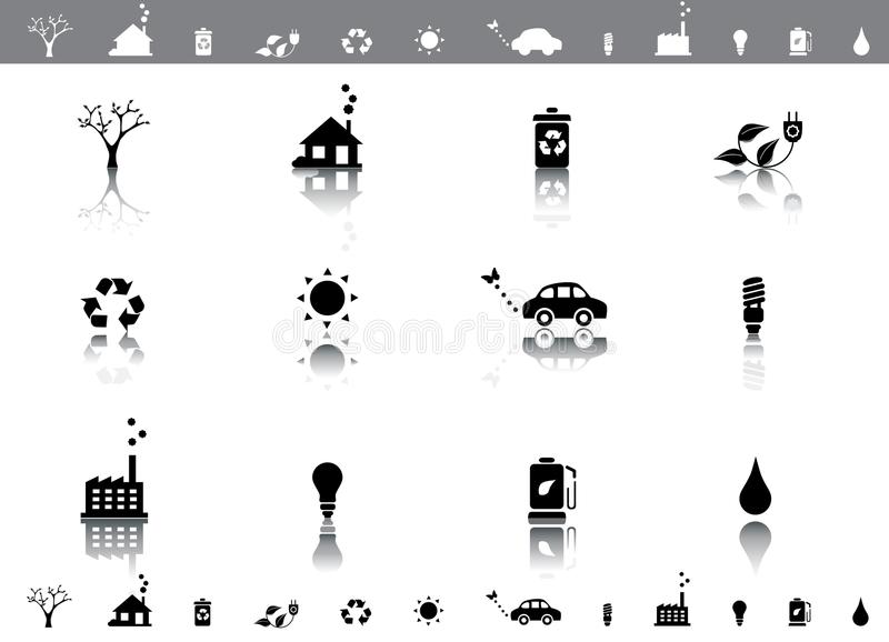 Ecology symbols icon set. Environmental friendly eco symbols icon set with reflection vector illustration