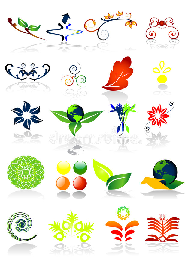 Ecology symbols - vector illustration. Green nature royalty free illustration