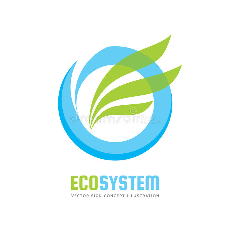 Ecology system - vector logo template concept illustration. Blue water ring and green leaves. Abstract nature sign. Design element stock illustration