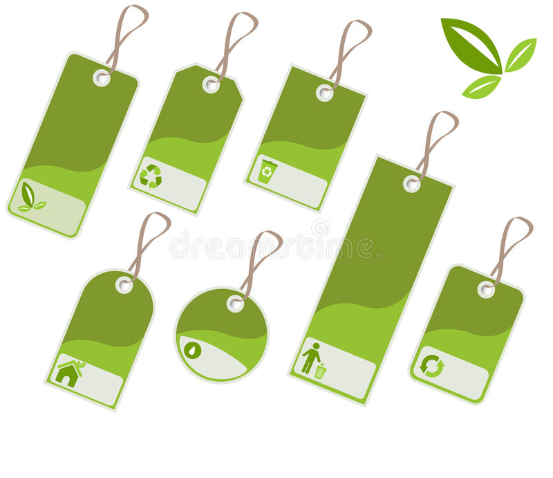 Ecology tags vector illustration