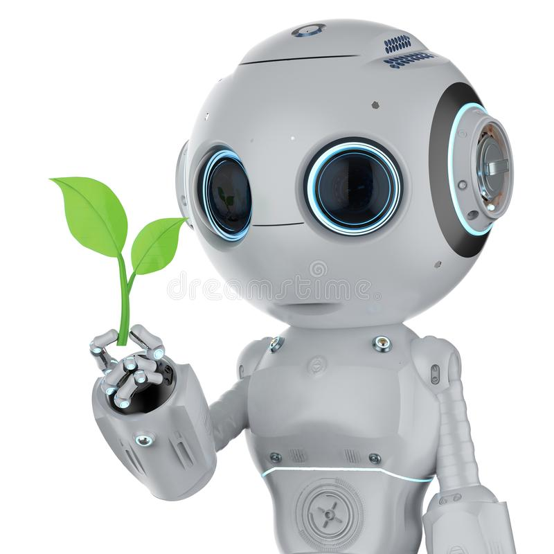 Ecology technology concept. With 3d rendering robot arm with green leaves vector illustration