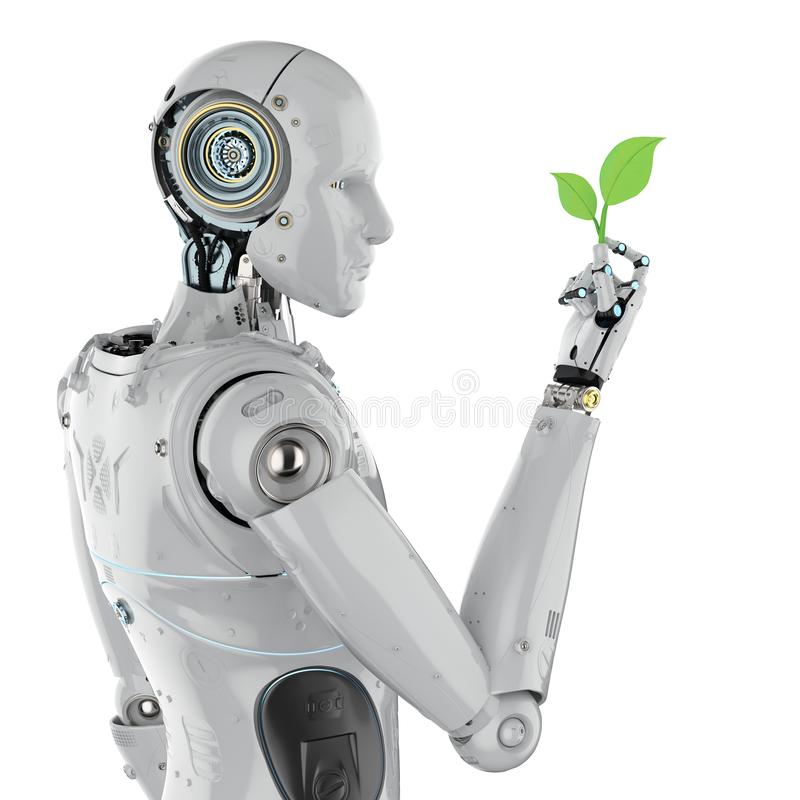 Ecology technology concept. With 3d rendering robot arm with green leaves royalty free illustration