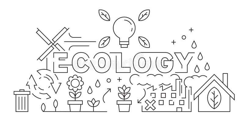 Ecology Theme of Line Art Design. Eco Friendly Concept Illustration. Black and White Vector. Save The World for a Better Day. Bac vector illustration