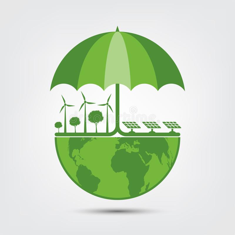 Ecology and umbrella Concept,Earth Symbol With Green Leaves Around Cities Help The World With Eco-Friendly Ideas. Environment, nature, environmental, tree royalty free illustration