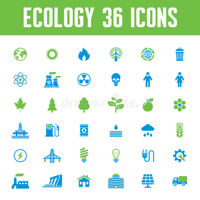 Ecology Vector Icons Set - Creative Illustration on Energy Theme vector illustration