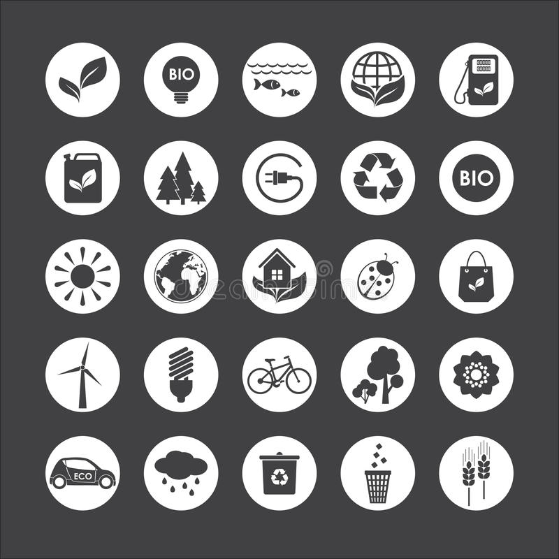 Ecology. Vector set of eco icons on gray background royalty free illustration