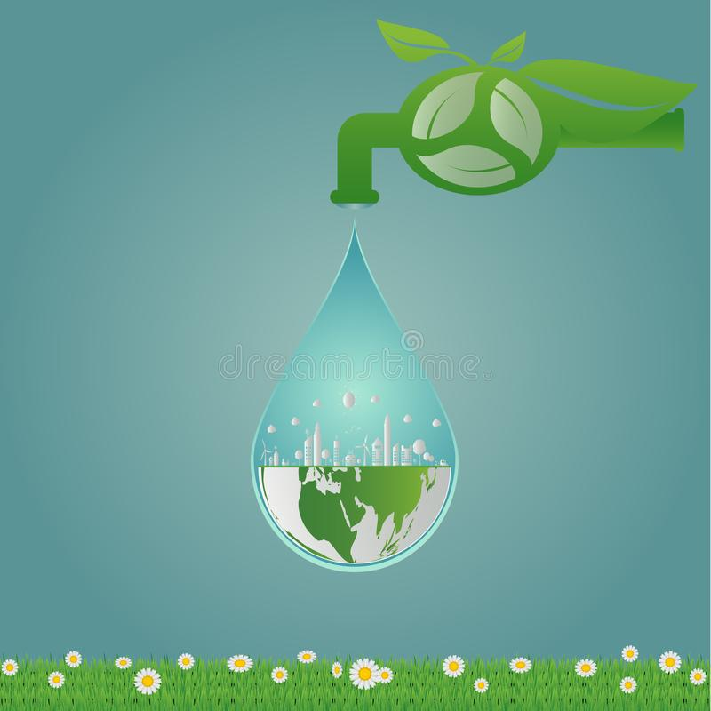 Ecology, water clean energy recycling, green cities help the world with eco-friendly concept ideas. illustration vector illustration