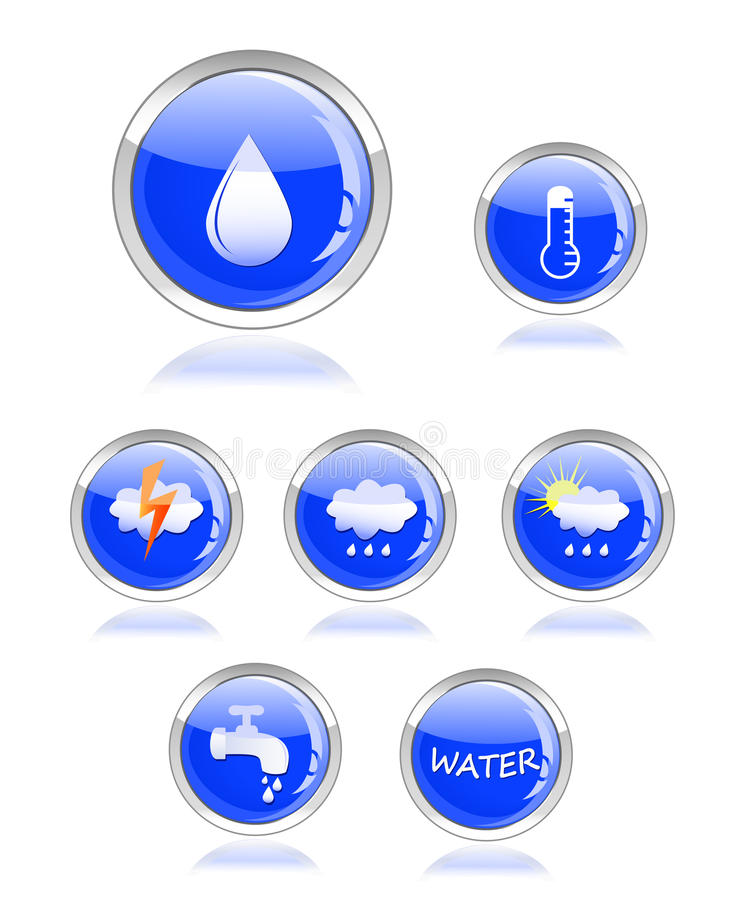 Ecology Water And Drop Glossy Icon Button Stock Image