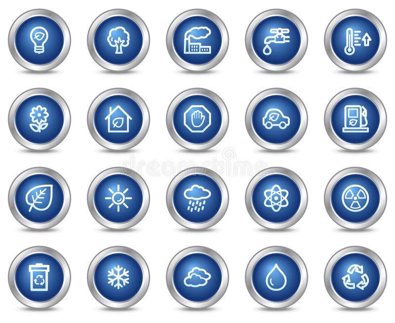Ecology web icons. Vector web icons, blue circle buttons series vector illustration