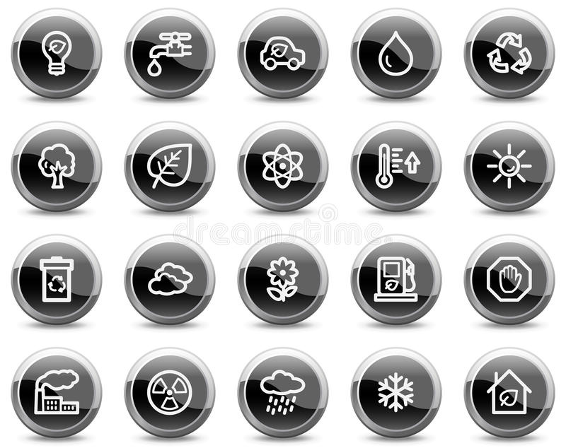 Download Ecology Web Icons, Black Glossy Circle Buttons Stock Vector - Illustration: 9421694