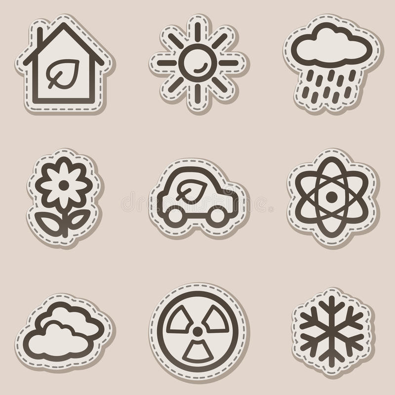 Download Ecology Web Icons Set 2, Brown Contour Sticker Stock Vector - Image: 11819079