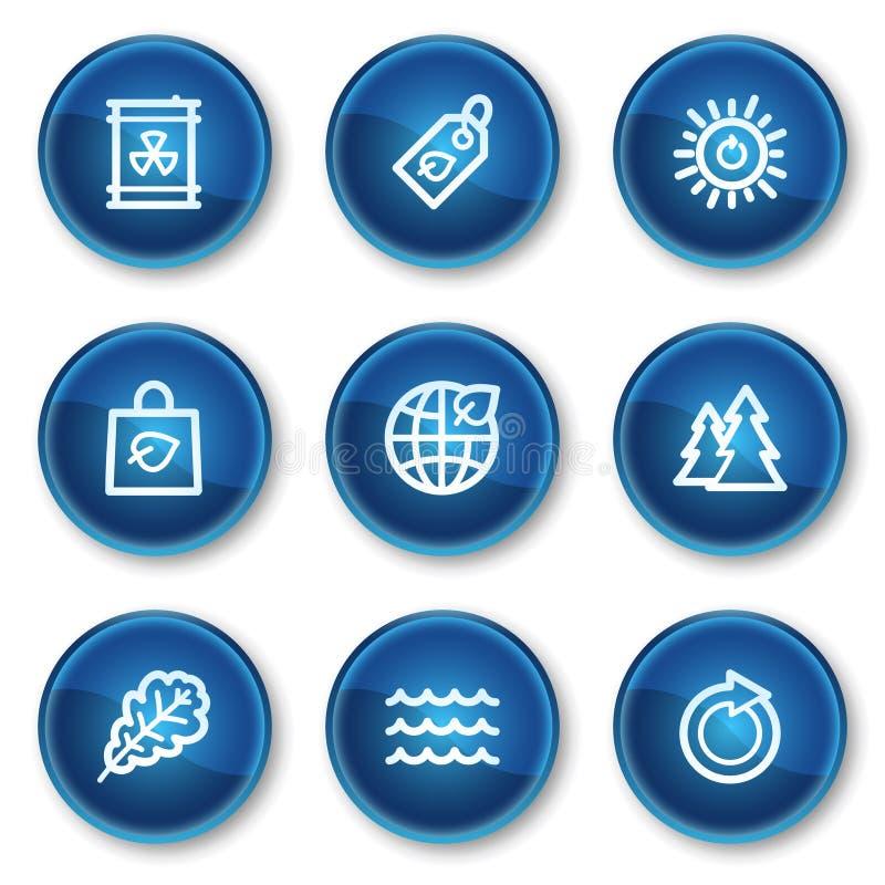 Ecology web icons set 3, blue circle buttons stock illustration