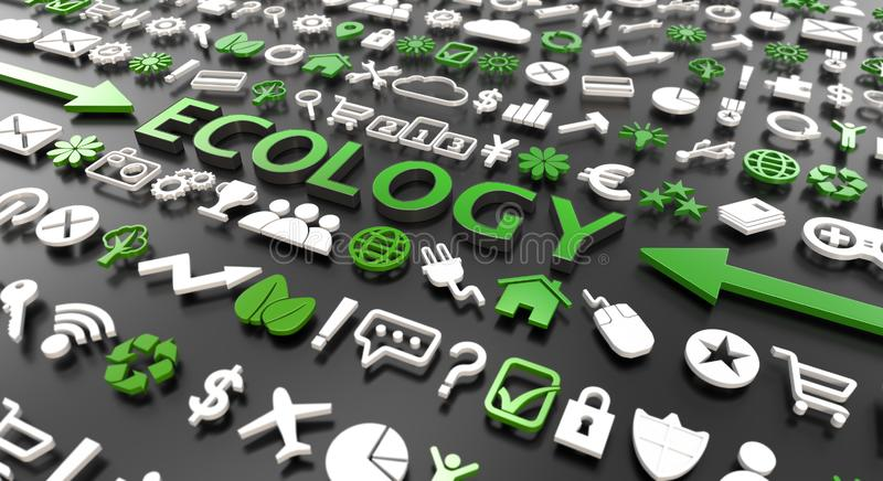 `ecology` word with 3d icons stock illustration