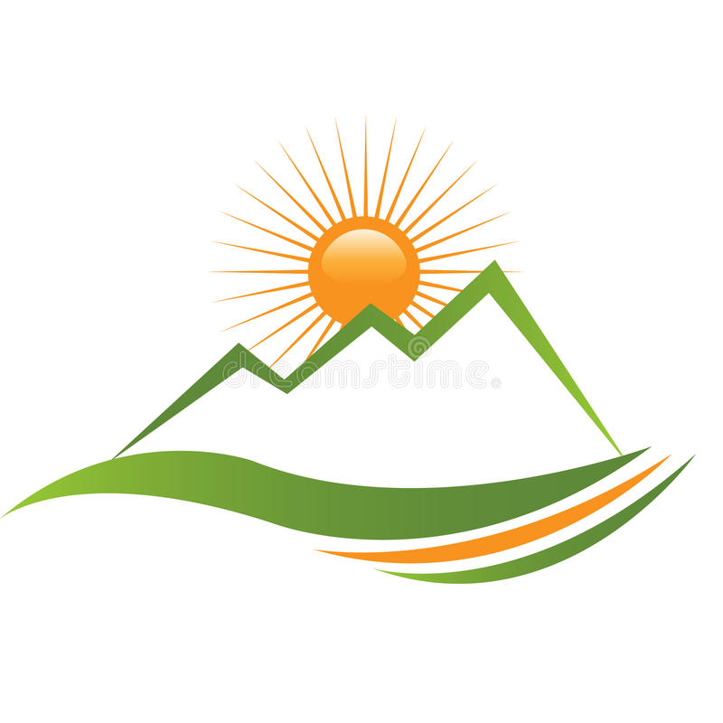 Ecologycal sun and mountain logo stock illustration