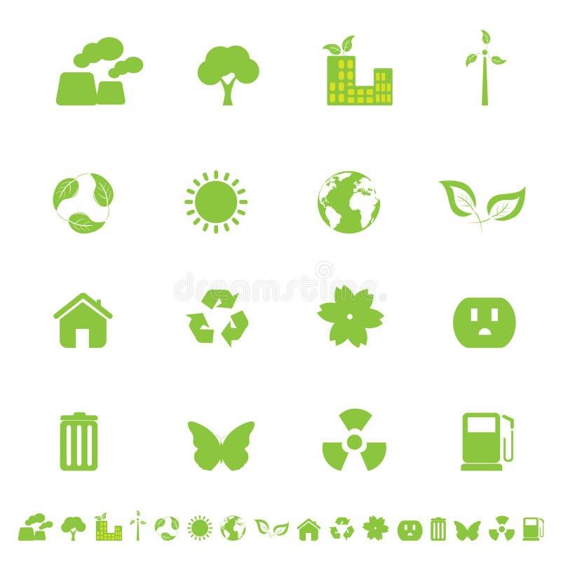 ecomiljösymboler royaltyfri illustrationer
