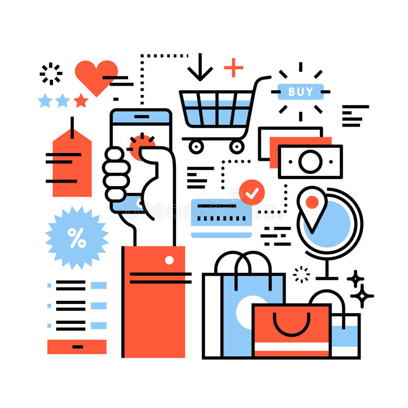 Ecommerce business concept. Purchasing goods in internet store via smart phone, online shopping, worldwide order delivery and payment. Thin line art flat stock illustration