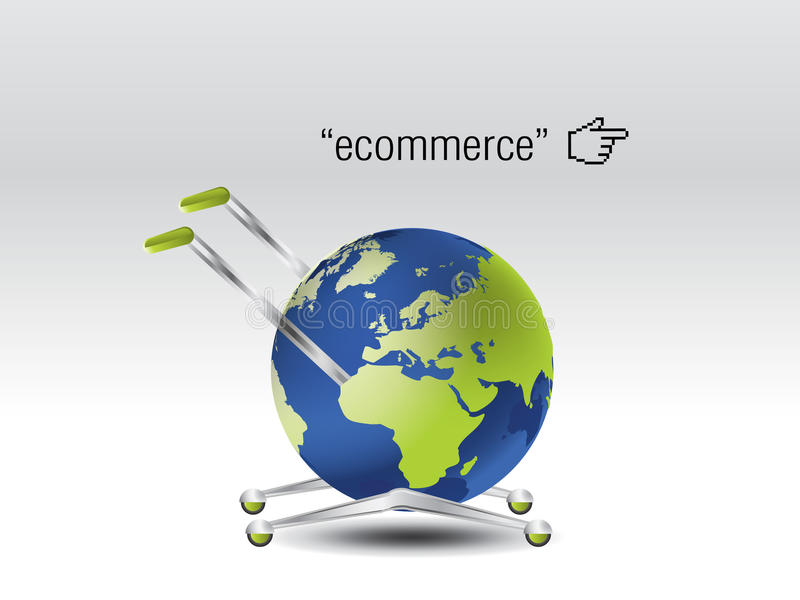 Ecommerce Concept. The world as a cart stock illustration