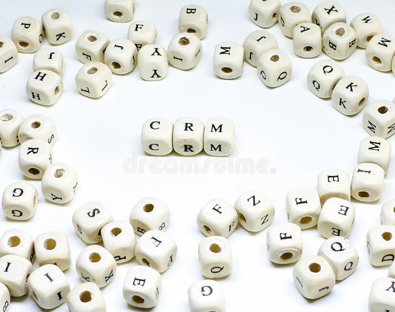 Ecommerce email blogging online advertising and social media marketing term wooden abc crm stock image