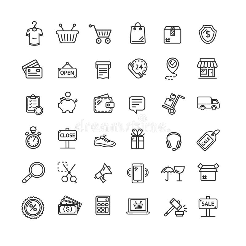 Ecommerce Icon Black Thin Line Set. Vector vector illustration