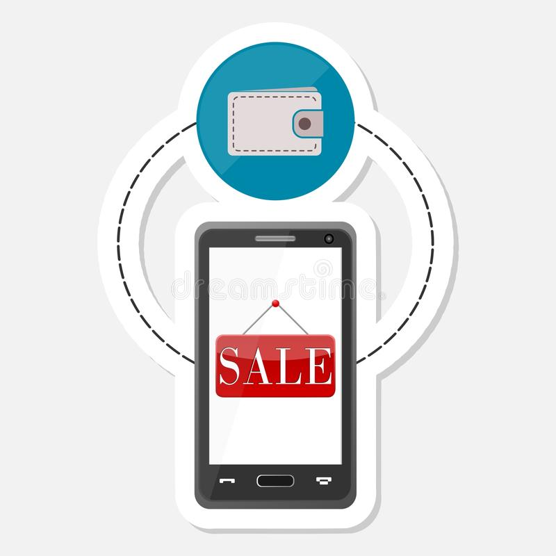 Ecommerce icon, Shopping design, Smart phone sticker vector illustration
