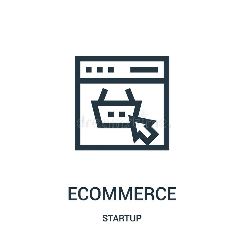 Ecommerce icon vector from startup collection. Thin line ecommerce outline icon vector illustration. Linear symbol for use on web and mobile apps, logo, print royalty free illustration