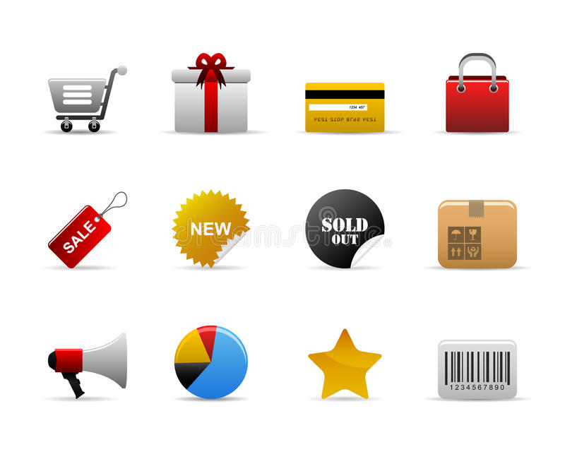 Ecommerce icons. Ecommerce web icons with shopping cart, gift, bag, and etc stock illustration
